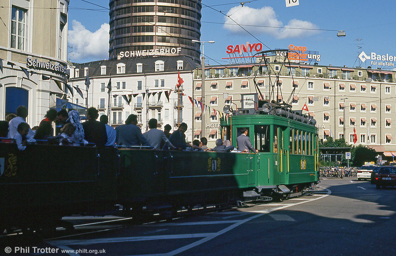 Basel 181 on a wedding special near the Hauptbahnhof on  31st July 1993.