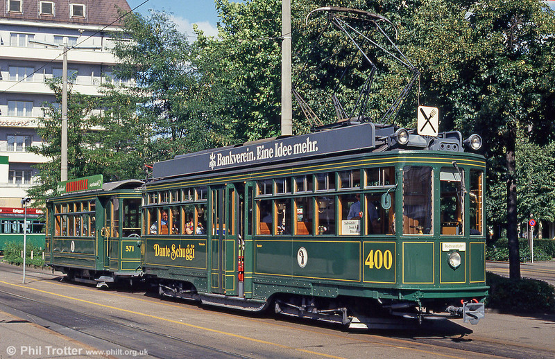 Basel car 400 of 1914 - nowadays a restaurant car - waiting to depart from Mustermesse with a dining tour on 31st July 1993.