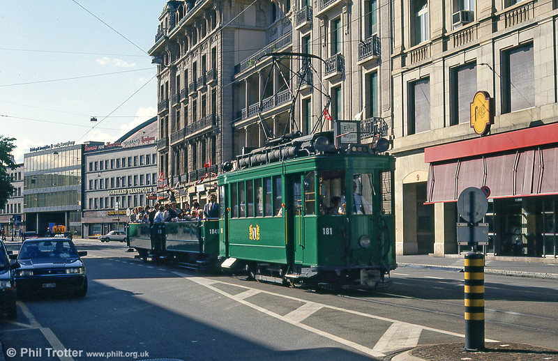 Basel 181 dating from 1925 on a wedding special near the Hauptbahnhof on  31st July 1993.