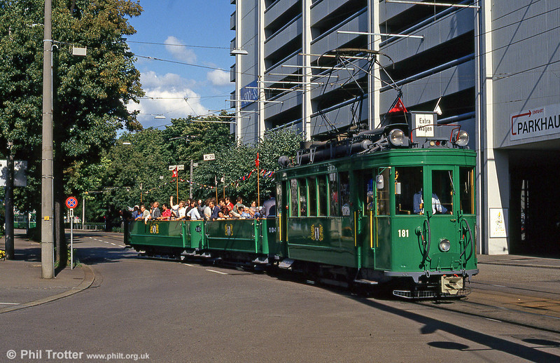 Basel 181 dating from 1925 and trailers on a wedding special at Mustermesse, 31st July 1993.