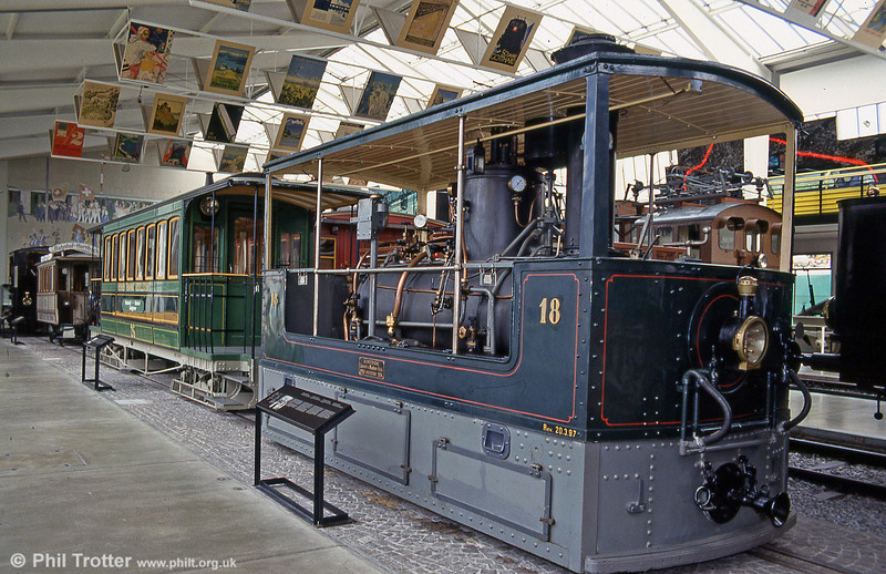 Bern steam tram locomotive 18, built by SLM in 1894 with trailer 26 at Lucerne Museum on 19th April 1992.