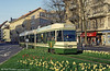 Bern articulated car 738 at Eigerplatz on 13th April 1992. (First published in Light Rail & Modern Tramway, 8/92).