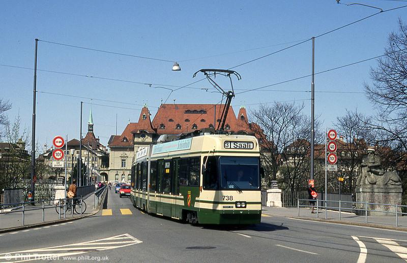 Car 738 at Helvetiaplatz on 13th April 1992.