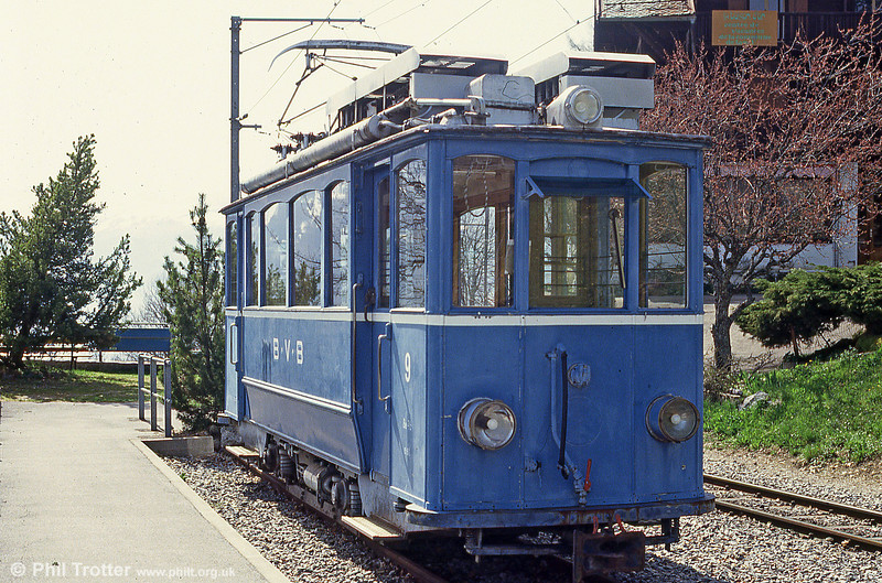 Another ex Zurich car of 1915 is Bex 9, seen at Gryon on 24th April 1992.