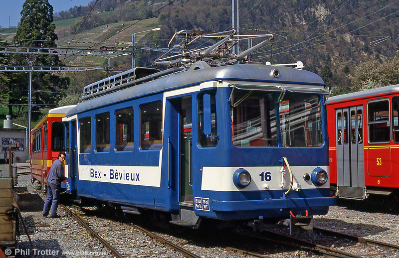 Retained for working the Bex-Bevieux service of the BVB (although a substitute bus was running on the day in question) is Bex tri-axle car 16, built in 1948. 24th April, 1992.