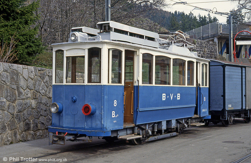 Bex 8, an ex- Zurich (148) car of 1907 seen at Villars-sur-Ollon on 22nd April 1992.