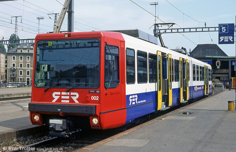 Car 002 of the Geneva - La Plaine light rail route at Cornavin station in august 1995.
