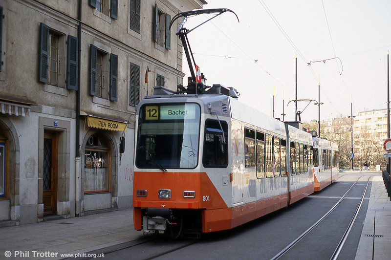 In 1987-1989, the TPG procured a total of 45 new, partly low floor, articulated trams, based on the prototype Be 4/6 tram no. 741, which had joined the fleet in 1984. The new trams were supplied by Ateliers de Constructions Mécaniques de Vevey (ACMV) in Villeneuve, Vaud, in collaboration with Düwag and BBC/ABB. Car 801 - originally the prototype 741 -  is seen at Armes on 12th April 1992.