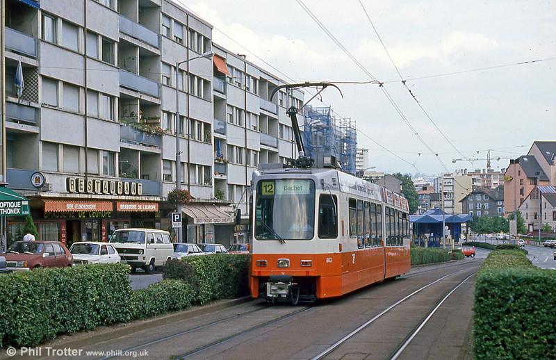 Cars 803 leaves Moillesulaz terminus on 4th September 1989.