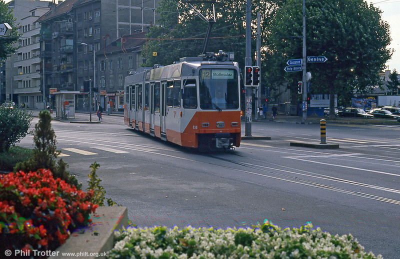Car 836 at Place du Rondeau, Carouge on 4th September 1989.