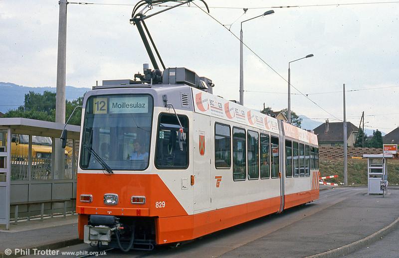 Car 829 at Bachet terminus on 4th September 1989.