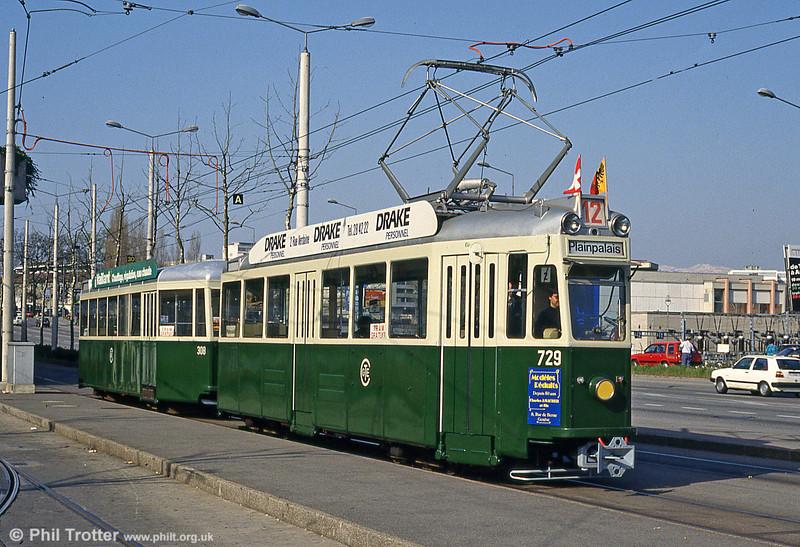 Geneva's restored Swiss standard car 729 of 1952 at De Stael on 12th April 1992.
