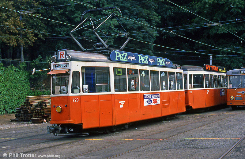 Preserved Swiss 'standard tram' 729 of 1952 in as-withdrawn livery and preserved by AGMT at Carouge on 4th September 1989.