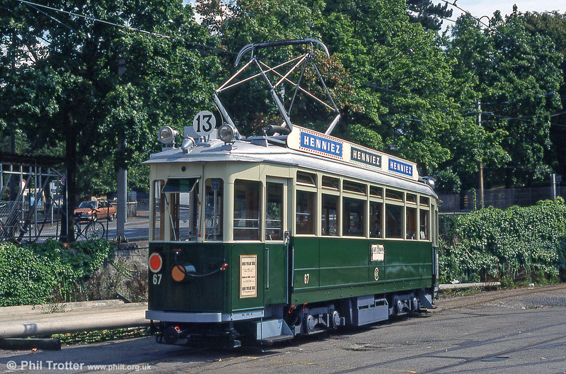 Preserved car 67 at Carouge in August 1995. The was preserved by AGMT in 1973 and is restored to 1950s livery.