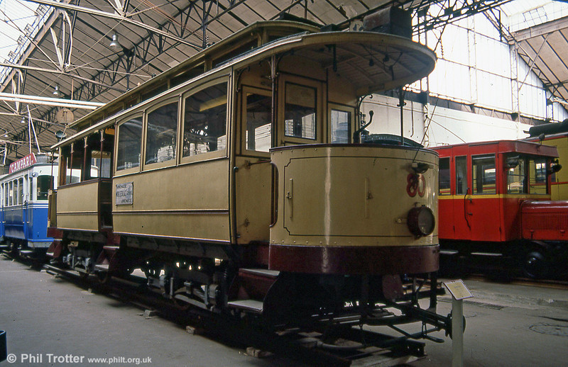 Geneva car 80, built in 1901 (rebuilt 1910), seen at the Paris Transport Museum in July 1984. Mechanical parts were built by Schlieren (SWS) and electrical equipment supplied by AEG. The car has since returned to Geneva for operation under the care of the Association Genevoise du Musée des Tramways (AGMT).