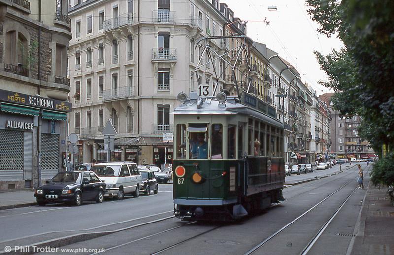 Preserved car 67 in Rue de Carouge in August 1995.