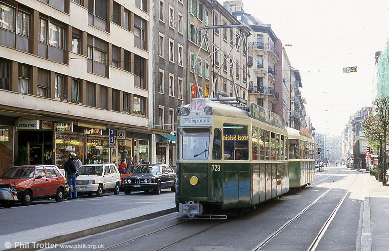 Preserved car 729 at Plainpalais on 12th April 1992.