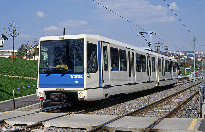 Lausanne articulated car 211 on the rejuventated TSOL light railway at Mouline, 12th April 1992.