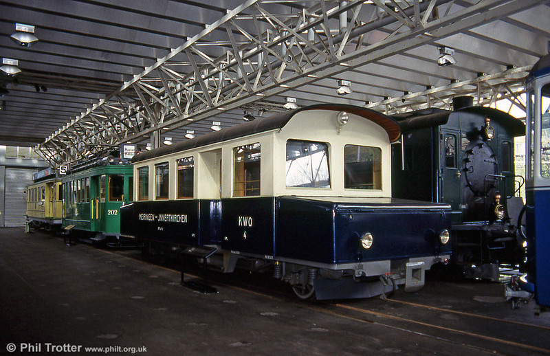Prior to electrification, the MIB operated battery cars. This is no.4 of 1939 on display at the Verkehrshaus Luzern on 19th April 1992.
