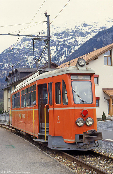 MIB car 6 was a 1952 former Oberrheinische Eisenbahn railcar (63), bought and rebuilt in 1977. Meiringen, 19th April 1992.