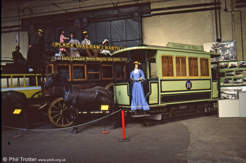 Neuchatel horse car no. 2 of 1895, seen at the Paris Transport Museum, St. Mandé in July 1984