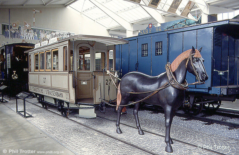 Zurich horse car 27, fronted by a somewhat bizarre-looking horse, at Lucerne Museum on 19th April 1992. The first horse tram operated in the city in 1882.