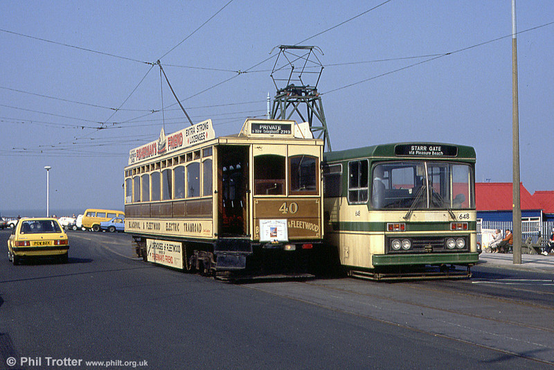 Blackpool & Fleetwood 40 with Centenary car 648 at Fleetwood Ferry on 31st March 1990.