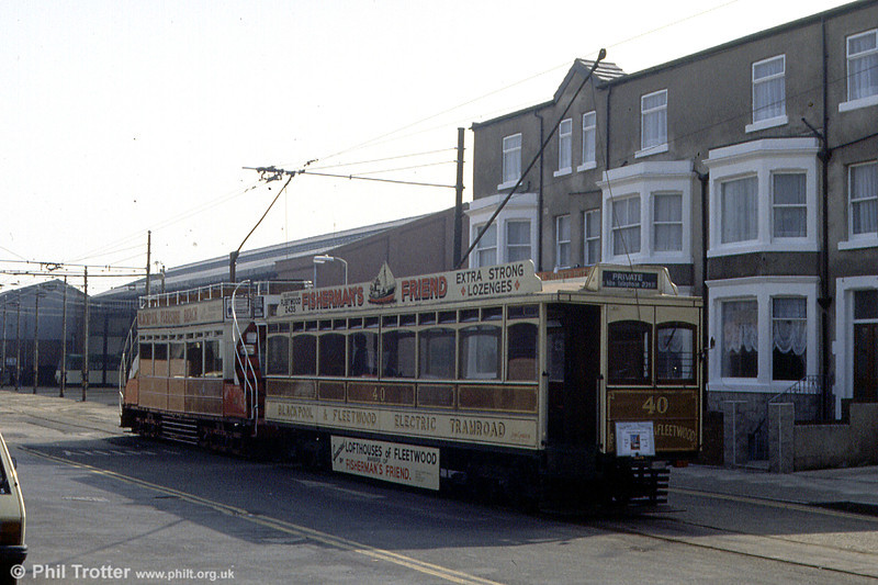 Blackpool & Fleetwood 40 and Dreadnought 59 wait in Hopton Road, ready to depart with a 'Tramtrax' enthusiasts' tour on 31st March 1990.