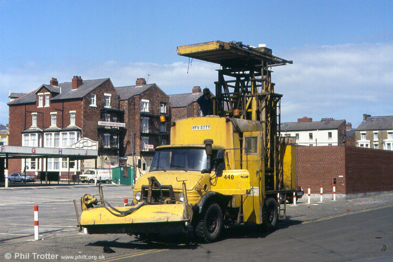 1982-built Mercedes 'Unimog' 440 at Rigby Road Depot on 2nd May 1992.