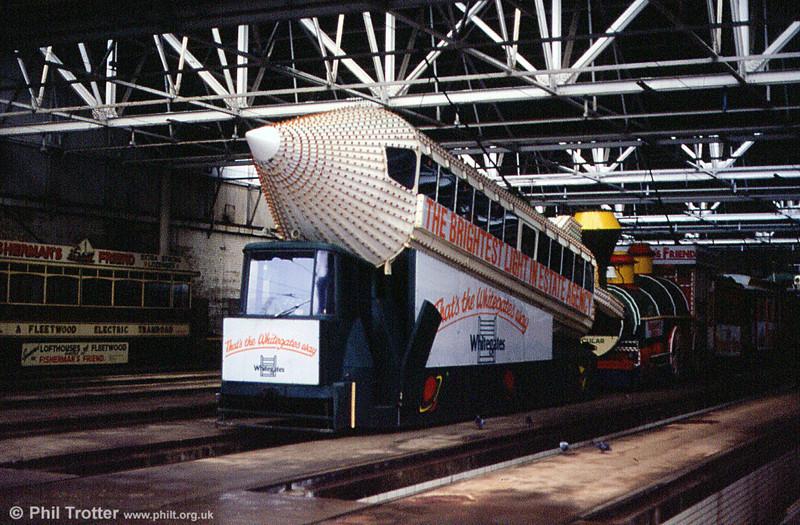 Illluminated 'Rocket' car 732 at Rigby Road depot on 28th October 1990. This was rebuilt from Pantograph car 168 in 1961.
