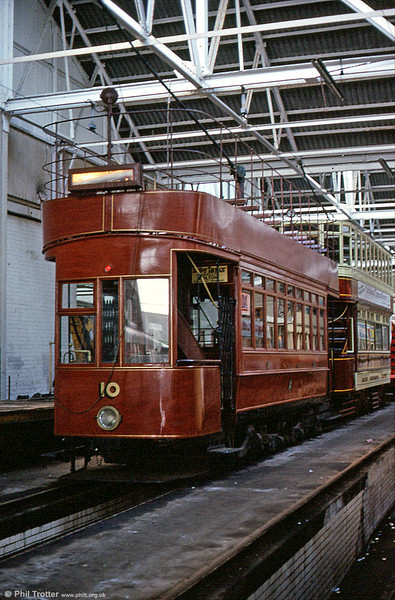 """Hill of Howth 10 was built in 1902 for the 5' 3"""" gauge tramway near Dublin. After the line's closure in 1959, the car passed to the TMS who converted it to standard gauge. It is seen at Rigby Road depot on 4th November 1989."""