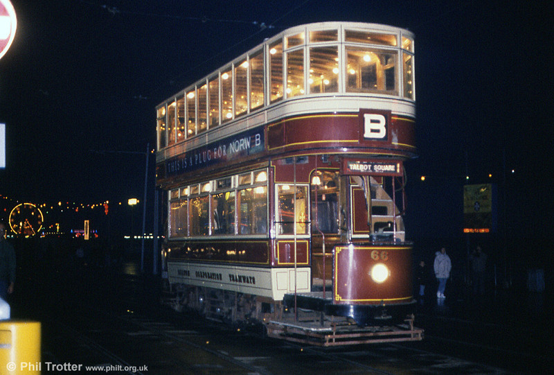 Bolton car 66 on an illuminations tour at Talbot Square on 27th October 1990.