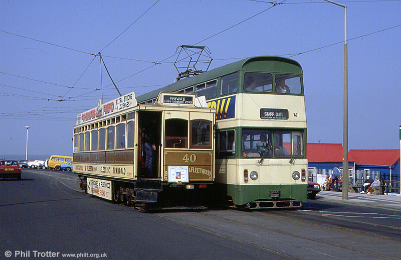 Blackpool & Fleetwood 40 with Jubilee car 761 at Fleetwood Ferry on 31st March 1990.