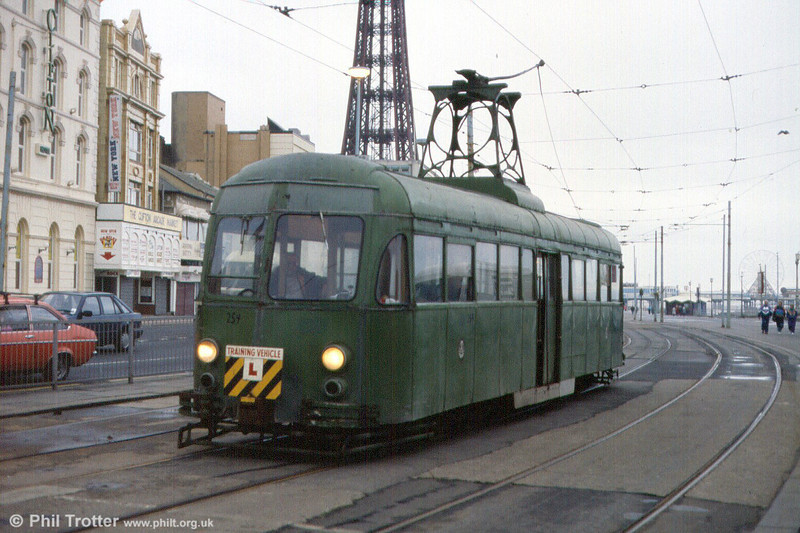 Works car 259 in use for driver training at Talbot Square on 22nd November 1991.