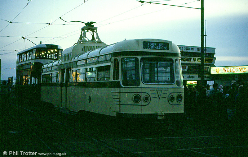 The 25 'Coronation Cars' were delivered between 1952 and 1954. Preserved 660 is seen on an illuminations tour at North Pier in October 1984.