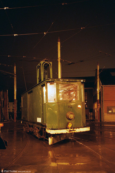One for insomniacs: A night shot of railgrinder 752 in August 2002.