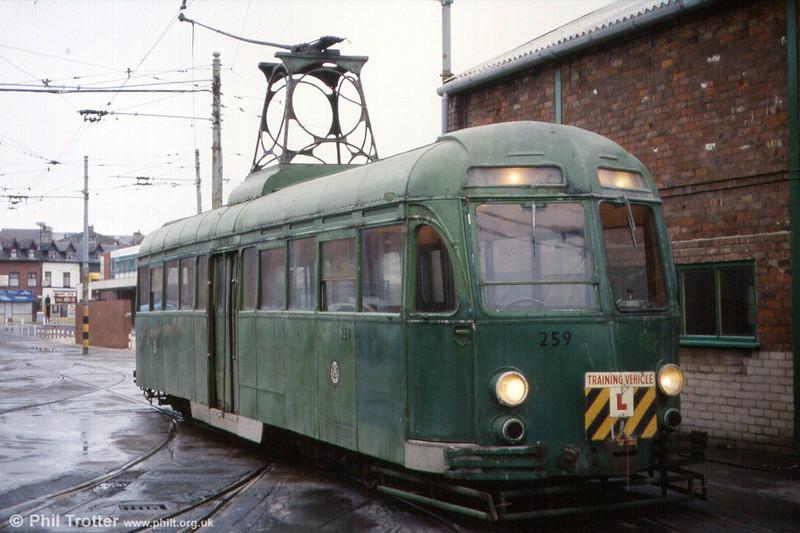 Works car 259 at Rigby Road Depot, 22nd November 1991.