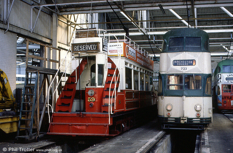 'Dreadnought' car 59 in Rigby Road Depot with Balloon 723 in October 1984.