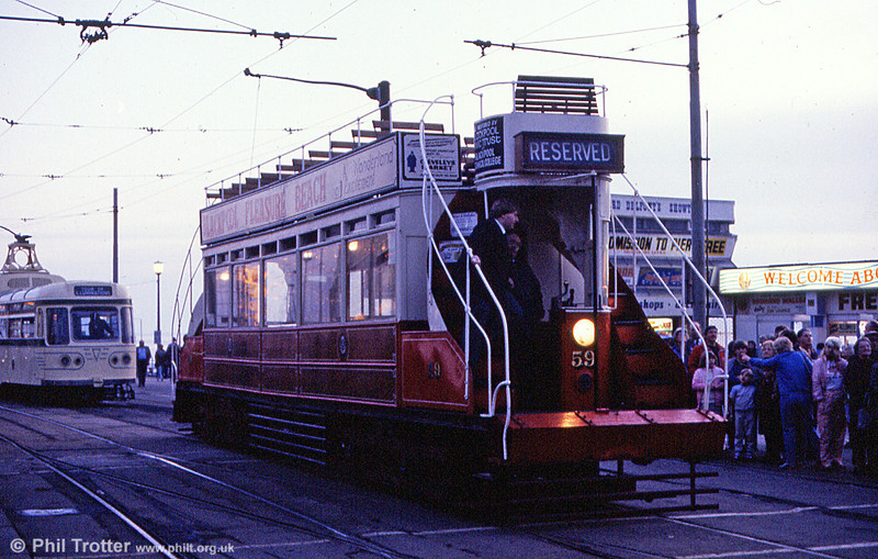 'Dreadnought' car 59 which dates from 1902 on an illuminations tour at North Pier in October 1984.
