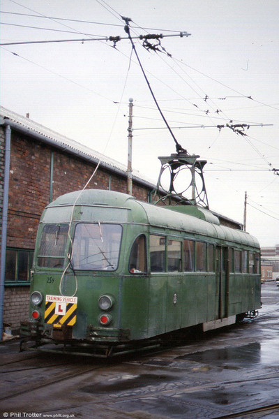 Another view of works car 259 preparing for driver training at Rigby Road Depot, 22nd November 1991.