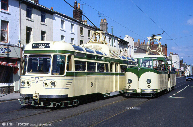 Coronation 660 and Boat 605 at Lord Street, Fleetwood on an enthusiasts' tour on 5th May 1991.