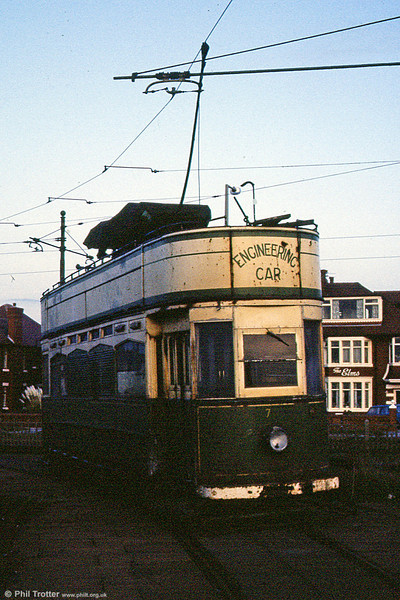 Overhead Line Car 753 was converted from Standard Car 143 in 1958. It has subsequently been restored to its original condition. It is seen at Little Bispham in October 1984.