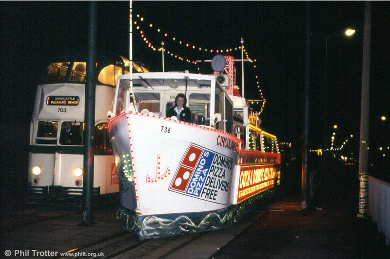 Illuminated 'Frigate' car 736 at Bispham on 26th October 1991.