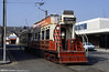 Dreadnought 59 waits in Hopton Road on 31st March 1990. 59 dates from 1902 and is the only survivor of a batch of 20 large open-top trams, designed to rapidly load and unload the large crowds on Blackpool promenade.