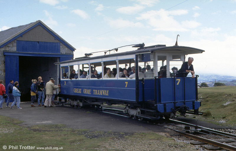 Car 7 prepares to leave Half Way on 5th September 1990. Seating capacity is 48, with up to 12 standing passengers.