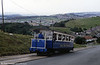 Great Orme car 4 on the lower section on 5th September 1990. The trolley arms were formerly used for a signalling system, now replaced by radios.