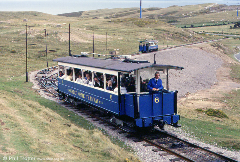 Car 6 at the passing loop on the upper section on 5th September 1990, looking towards Half Way Station.