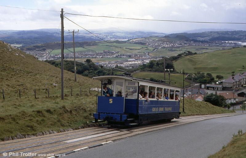 Car 5 climbs towards Half Way at Ty Gwyn Road on 5th September 1990.