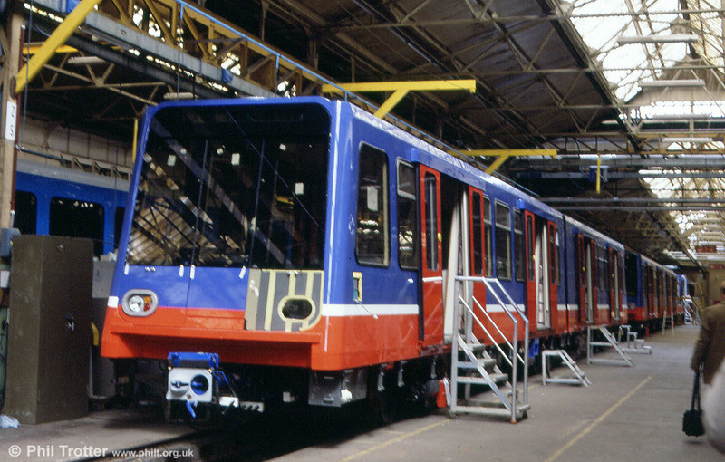 A DLR B90 car under construction at BN, Brugge in May 1991.
