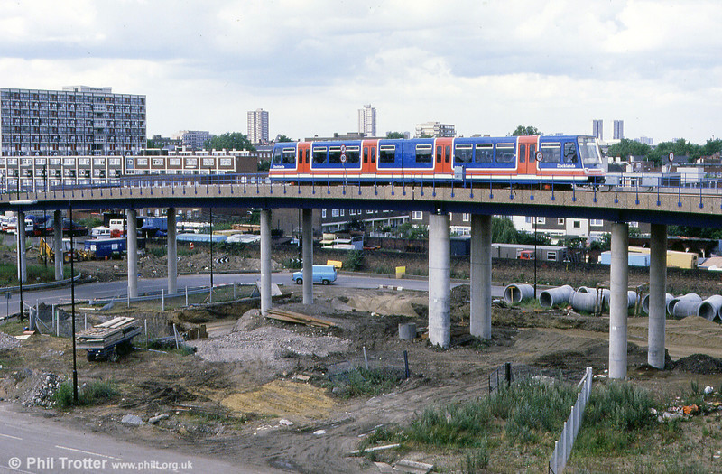 Car 04 again, approaching west India Quay. The original P86 and P89 cars were later sold for use in Essen.